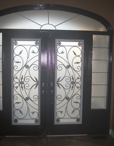 Front Entry Doors-Wrought Iron Double Doors-Fiberglass doors Julietta Design with 2 Side Lites and Transom- Inside View Installed by Windows and Doors Toronto in Richmond Hill