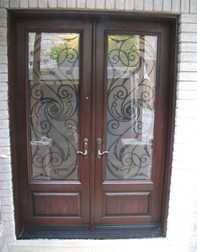 Front Entry Doors-Fiberglass Doors-Wrought Iron Double Doors Serafina Design with Multi Point Locks Installed by Windows and Doors Toronto in North York