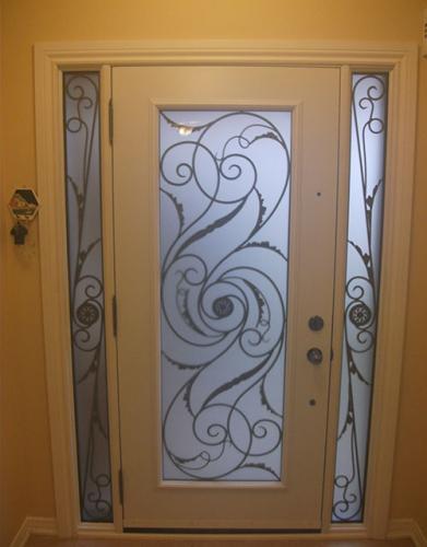 Wrought Iron Doors-Front Entry Doors-Fiberglass Doors-Wrought Iron Exterior Door Milan Design with 2 side Lites Installed In Markham