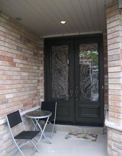 Windows and Doors Toronto-Wrought Iron Exterior Double Doors-Fiberglass Doors Serafina Design Installed in Toronto by Windows and Doors Toronto