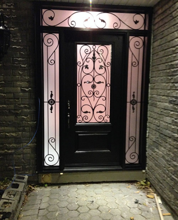 Windows and Doors Toronto-Wrought Iron Doors-Wrought Iron Fiberglass Door with 2 side lites and transom installed in Richmond Hill by windowsanddoorstoronto.ca