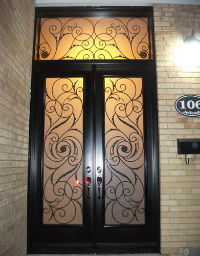Windows and Doors Toronto-Wrought Iron Fiberglass Double Doors with Transom & multi Point Locks installed by Windows and Doors Toronto in Hamilton