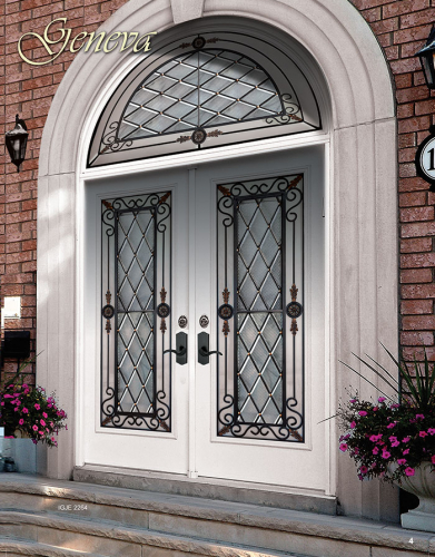 Wrought Iron Geneva Design Fiberglass Doors with Arched Transom