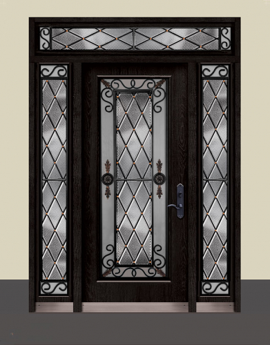 Wrought Iron Geneva Design with Stained Glass and 2 Side Lites and Transom