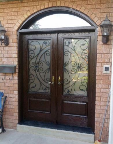 Windows and Doors Toronto-Front Doors-Wrought Iron Julieta Design Fiberglass Double Doors with Arch Transom installed in Oshawa by Windows and Doors Toronto