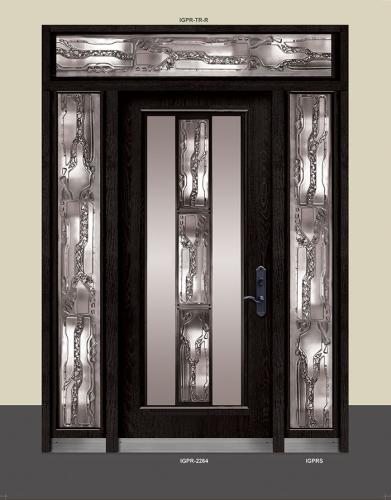 Wrought Iron Stained Glass Door with 2 Side lites and Transom