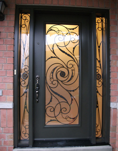 Windows and Doors Toronto-Wrought Iron Door-Exterior Door Milan Design with 2 side Lites-Installed by Windows and Doors Toronto in Oshawa